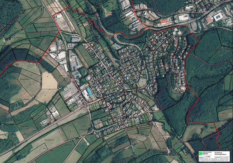 Luftbild zum Katasterplan Pützborn